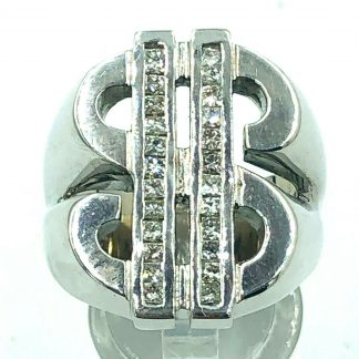 14ct White Gold 24 Diamond $ Ring with Valuation