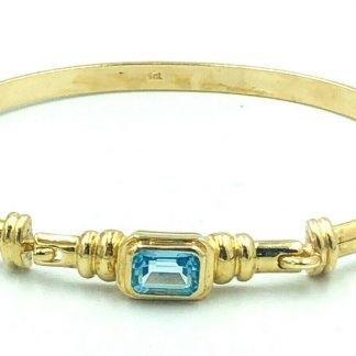 9ct Yellow Gold Blue Topaz Bangle