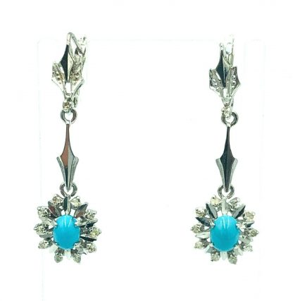 9ct White Gold Diamond & Persian Turquoise Designer Earrings