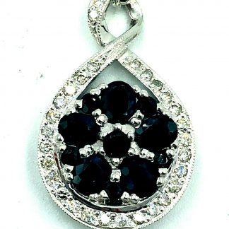 9ct White Gold Diamond & Sapphire Necklace