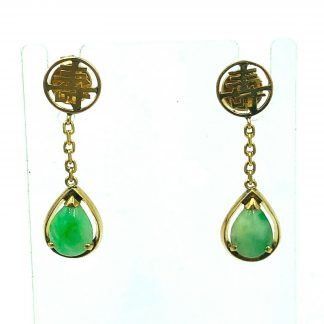 14ct Yellow Gold Jade Oriental Earrings