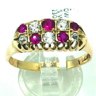 9ct Yellow Gold Ruby & Diamond Ring
