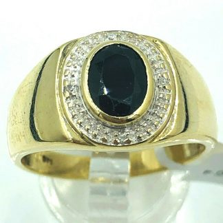 9ct Yellow Gold Black Onyx & Diamond Ring