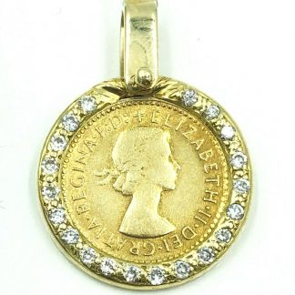 18ct Yellow Gold Diamond Coin Pendant
