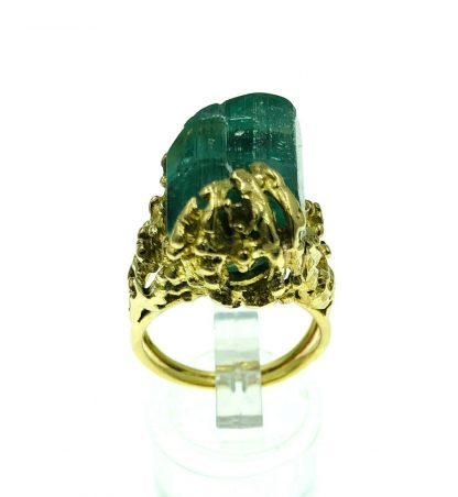 18ct Yellow Gold Natural Uncut Emerald Designer Ring