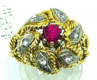 18ct Yellow Gold Ruby & Spinal Ring