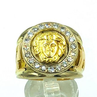 18ct Solid Yellow Gold Versace Style Diamond Ring