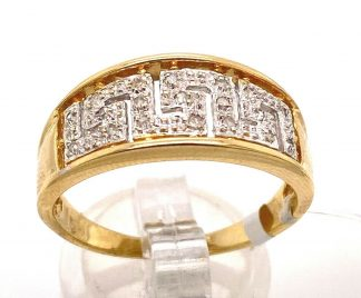 9ct Yellow Gold Greek Key Diamond Ring