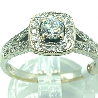 14ct White Gold Diamond Halo Ring