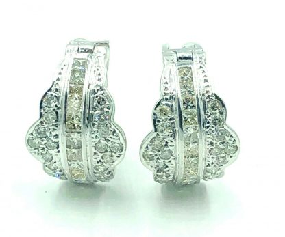 18ct White Gold 2.14ct Diamond Designer Earrings with Valuation