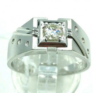 18ct White Gold Diamond Designer Solitaire Ring