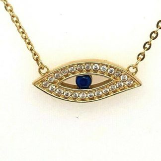 18ct Yellow Gold Evil Eye Necklace