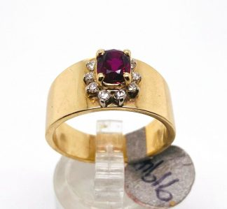 14ct Solid Yellow Gold Ruby & Diamond Designer Ring with Valuation