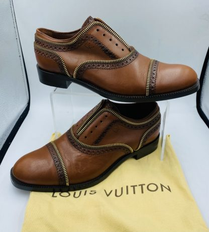 Louis Vuitton Calfskin Tomboy Richeliue Cognac Oxford Flats