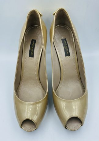 Louis Vuitton Oh Really! Patent Beige Peep Toe Pumps