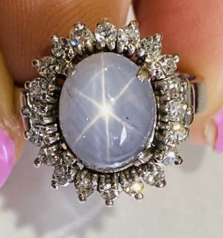 18ct White Gold Star Sapphire & Diamond Ring with Valuation