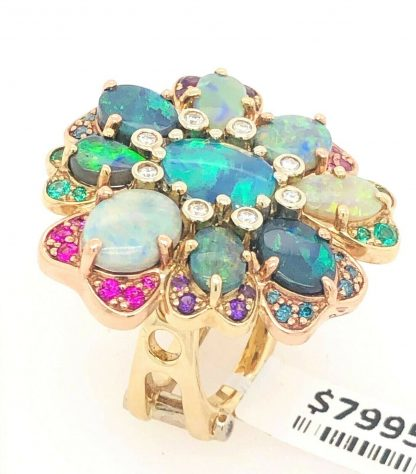 9ct Yellow/White & Rose Gold Opal, Diamond, Sapphire, Emerald & Amethyst Ring