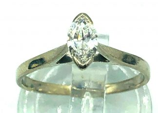 18ct White Gold Marquise Solitaire Ring with Valuation