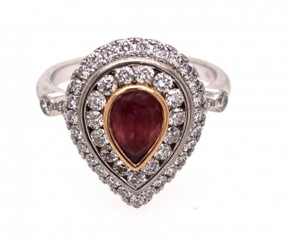 18ct White Gold Pink Tourmaline & Diamond Ring