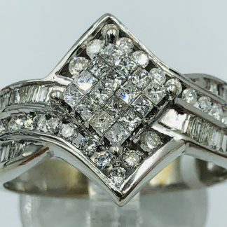 14ct White Gold Diamond Cluster Ring with Valuation