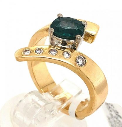 18ct Yellow Gold Parti Sapphire & Diamond Ring
