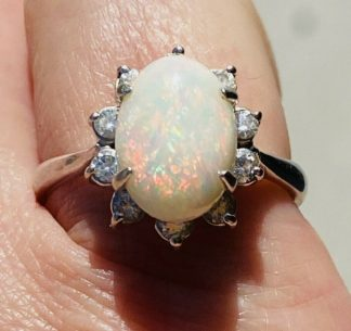 18ct White Gold Opal & Diamond Ring with Valuation