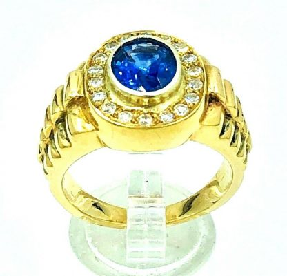 9ct Solid Yellow Gold Sapphire & Diamond Men's Rolex Design Ring with Valuation