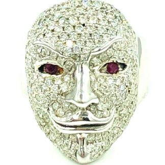 18ct White Gold Ruby & Diamond Mask Ring With Valuation