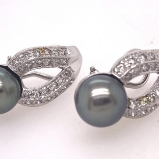 14ct White Gold Diamond & Pearl Earrings with Valuation