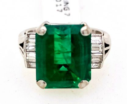 14ct White Gold Emerald & Diamond Ring with Valuation