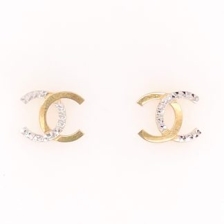 18ct Yellow Gold Diamond Cut CC Stud Earrings