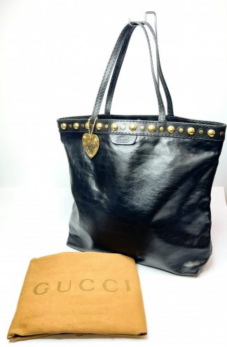 Gucci Babouska Black Leather Tote Bag