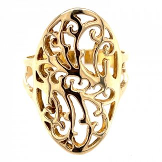 9ct Yellow Gold Filigree Ring