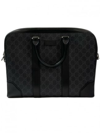 Gucci Black GG Supreme Canvas Business Bag