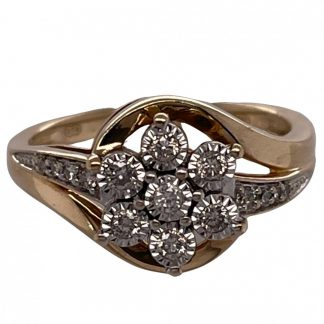 9ct Yellow Gold 15 Diamond Cluster Ring