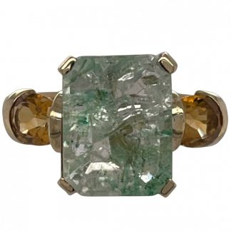 9ct Yellow Gold Emerald & Citrine Ring