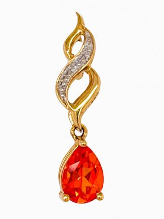 9ct Yellow Gold Orange Sapphire Pendant