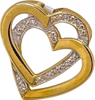 9ct Yellow Gold Interlocking Heart Diamond Slide Pendant