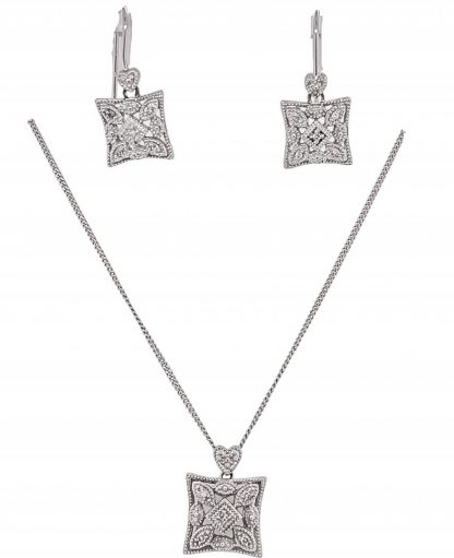 10ct White Gold Necklace & Diamond Pendant