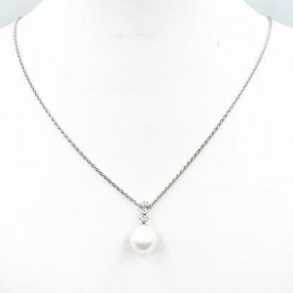 9ct White Gold Diamond Earrings & Necklace Set