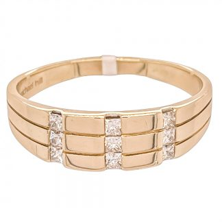 10ct Yellow Gold Diamond Men's Ring