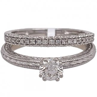 14ct White Gold Bridal Diamond Ring Set with Valuation