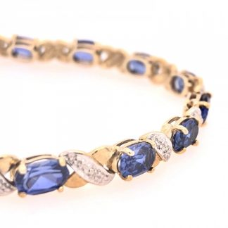 9ct Yellow Gold 16 Blue Sapphire & 8 Diamond Bracelet