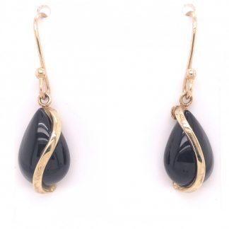 9ct Yellow Gold Black Onyx Drop Earrings