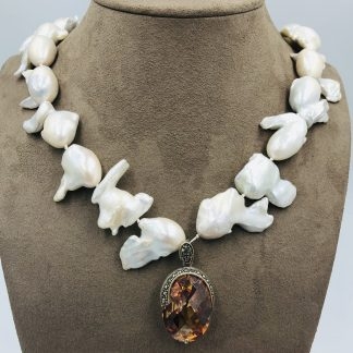 White Fish Tail Baroque Freshwater Pearl Necklace with Oval Enhancer Pendant