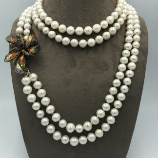 Cream Freshwater Pearl Double Strand Necklace with Flower Pendant
