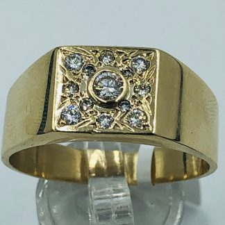 9ct Yellow Gold Men's Diamond Ring
