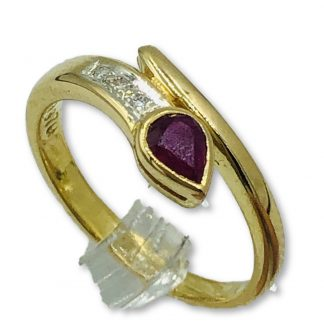 18ct Yellow Gold Pink Sapphire & Diamond Snake Design Ring