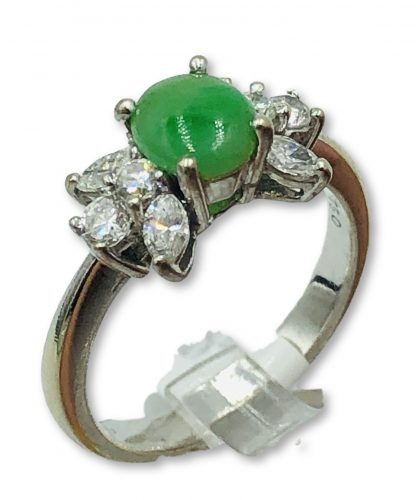 18ct White Gold Diamond & Jade Ring With Valuation