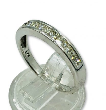 9ct White Gold Diamond Channel Set Ring